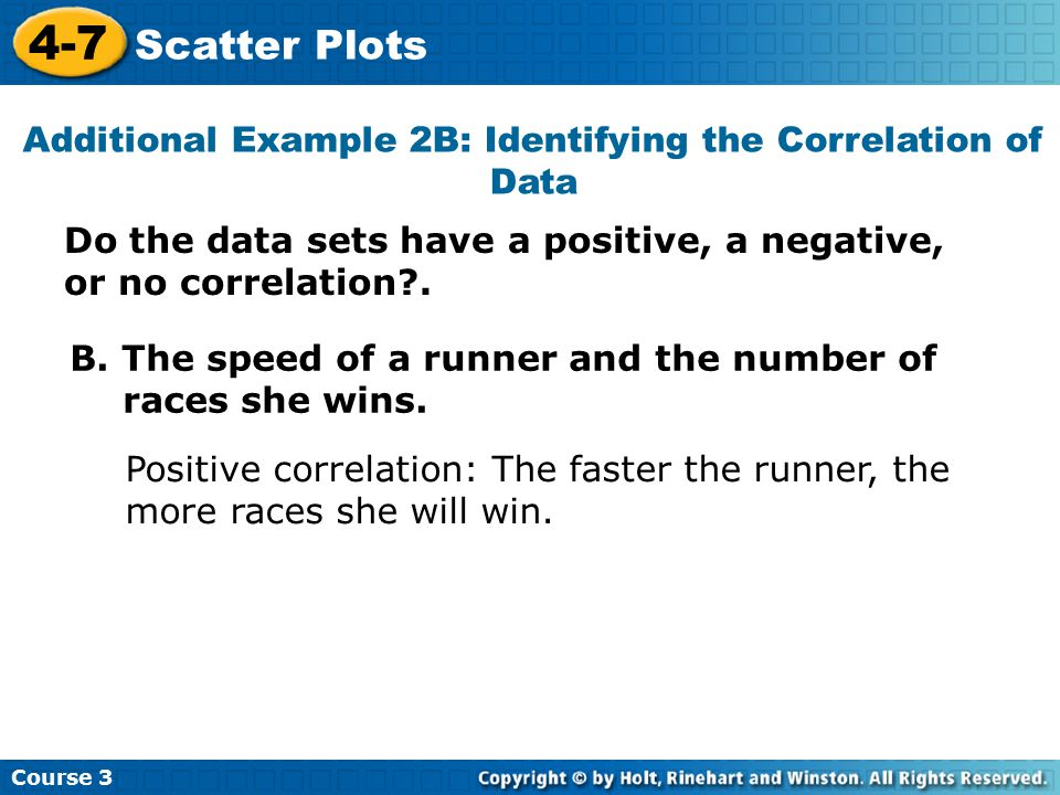Additional Example 2B: Identifying the Correlation of Data Course 3 4-7 Scatter Plots B. The speed of a runner and the number of races she wins. Posit