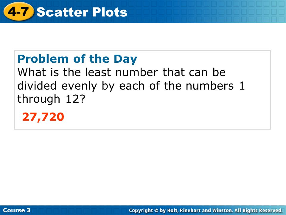 Problem of the Day What is the least number that can be divided evenly by each of the numbers 1 through 12.