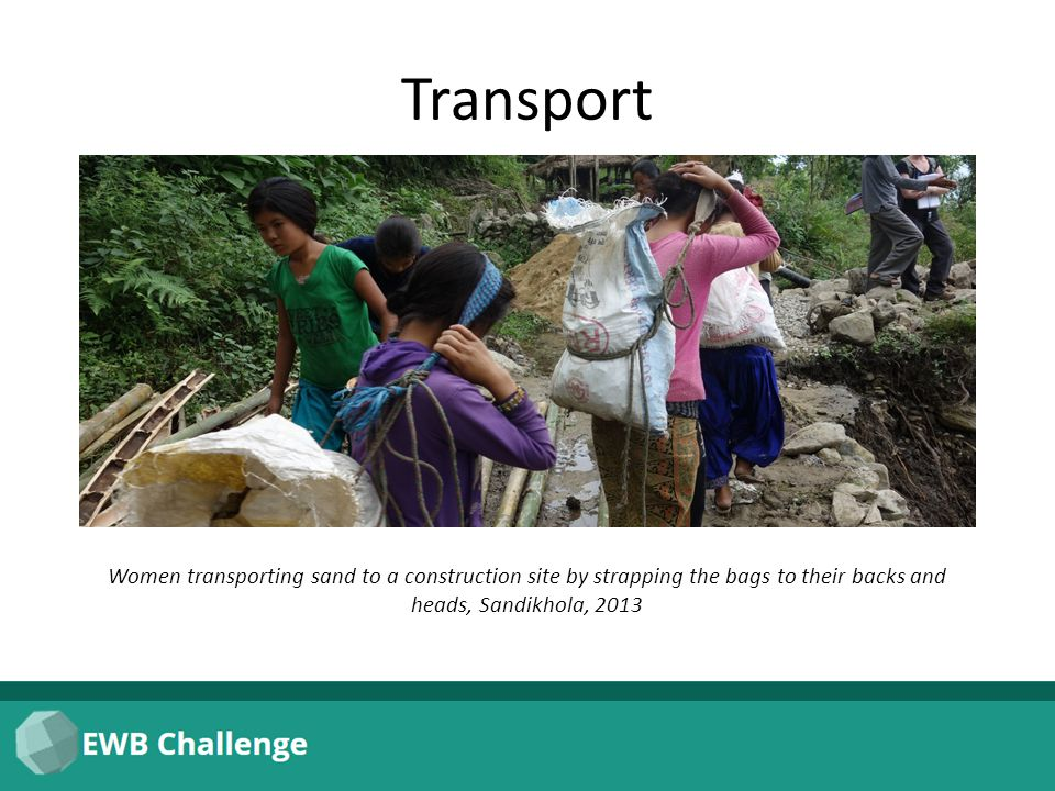 Transport Women transporting sand to a construction site by strapping the bags to their backs and heads, Sandikhola, 2013