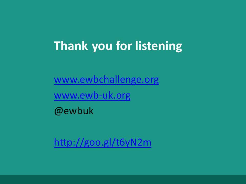 Thank you for listening www.ewbchallenge.org www.ewb-uk.org @ewbuk http://goo.gl/t6yN2m