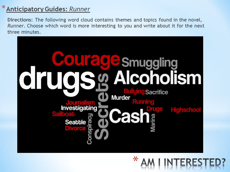 * Anticipatory Guides: Runner Directions: The following word cloud contains themes and topics found in the novel, Runner.