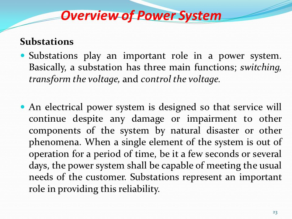 Overview of Power System 161kv Transmission Line 22 330kv Transmission Line