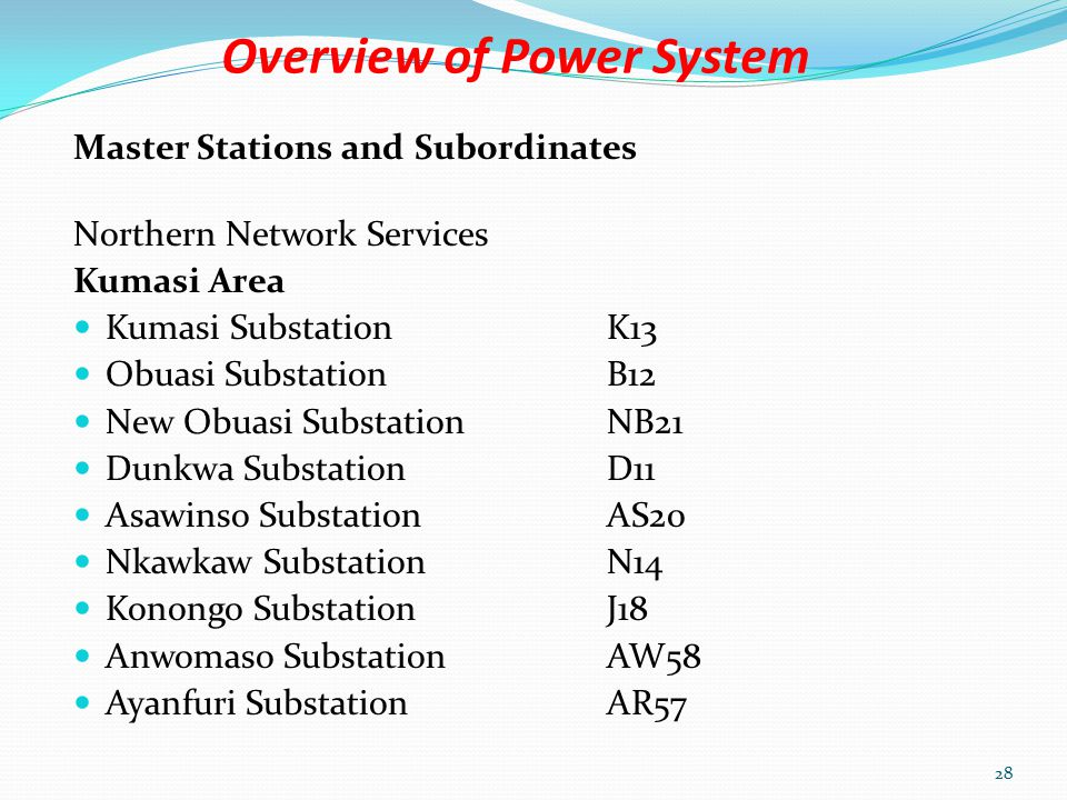 Overview of Power System Southern Network Services Prestea Area Prestea SubstationP10 Bogoso SubstationBS30 Tarkwa SubstationR9 Akyempim SubstationAY42 27
