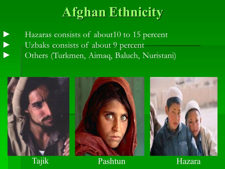 Afghan Ethnicity ►Hazaras consists of about10 to 15 percent ►Uzbaks consists of about 9 percent ►Others (Turkmen, Aimaq, Baluch, Nuristani) Tajik Pash