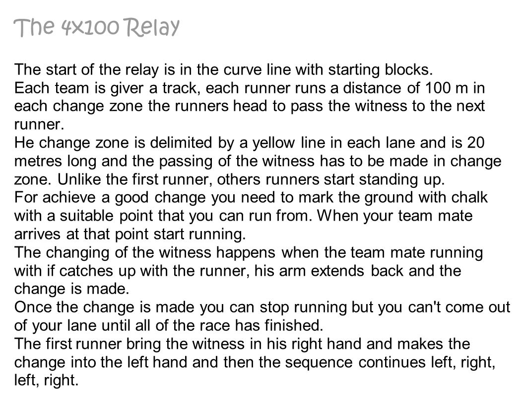 The 4x100 Relay The start of the relay is in the curve line with starting blocks.