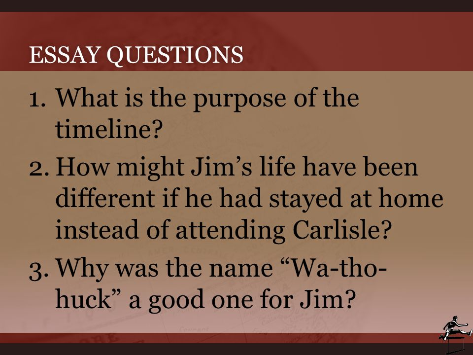 ESSAY QUESTIONSESSAY QUESTIONS 1.What is the purpose of the timeline? 2.How might Jim's life have been different if he had stayed at home instead of a