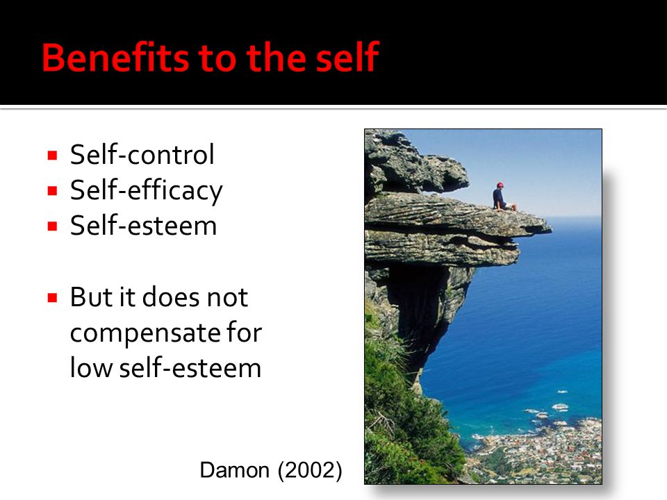  Self-control  Self-efficacy  Self-esteem  But it does not compensate for low self-esteem Damon (2002)