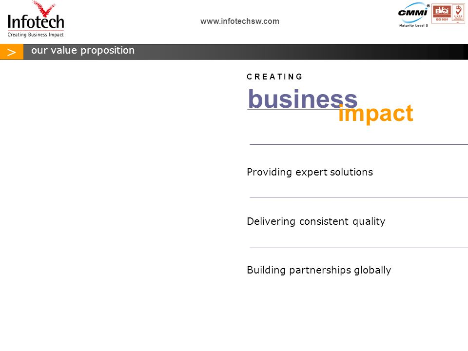 > www.infotechsw.com Providing expert solutions Delivering consistent quality Building partnerships globally business impact C R E A T I N G our value proposition