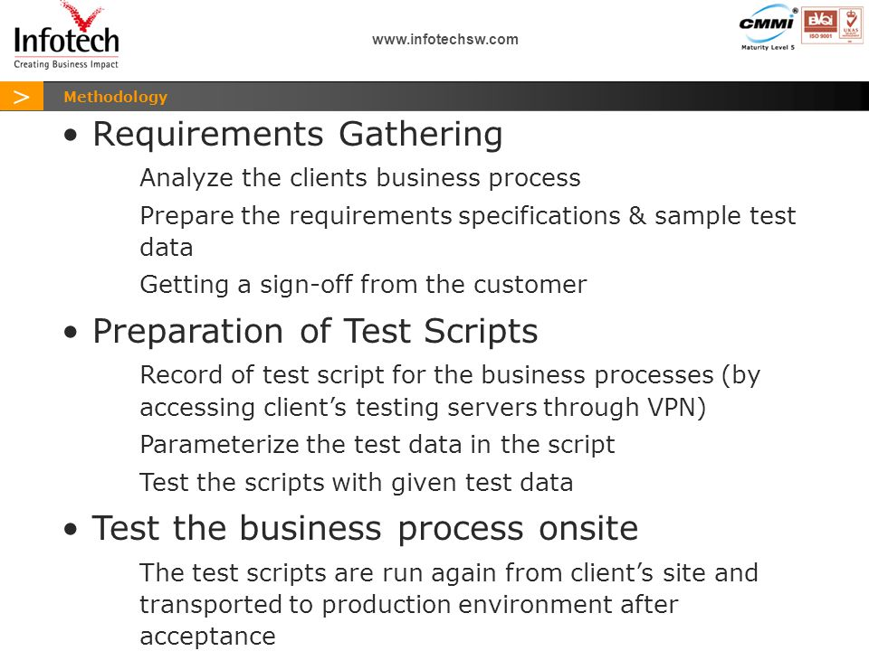 > www.infotechsw.com Sample Business Process