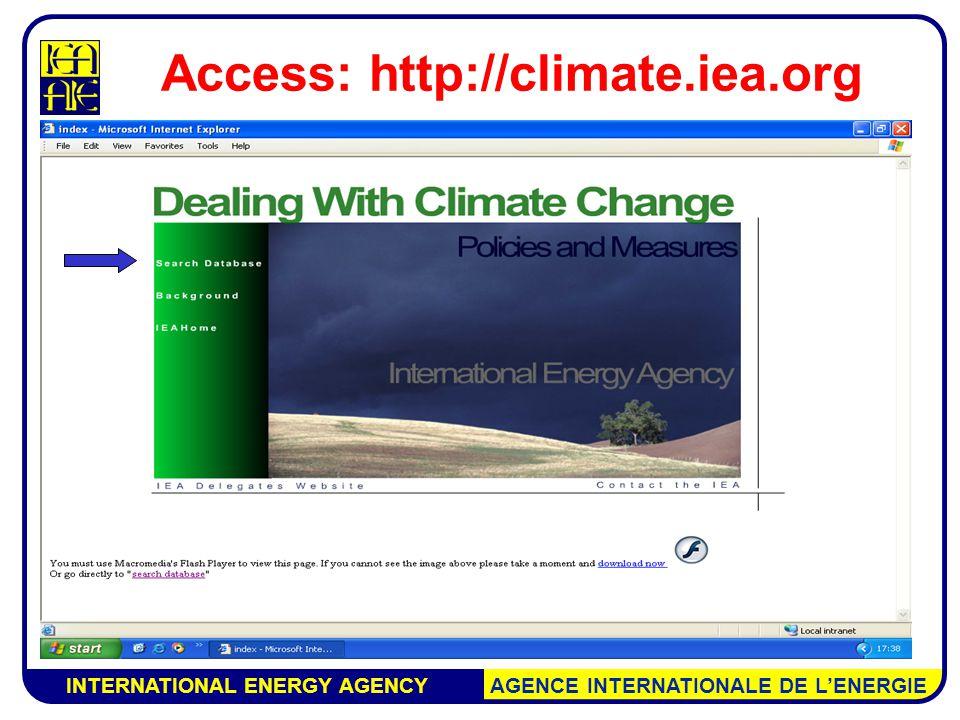 INTERNATIONAL ENERGY AGENCY AGENCE INTERNATIONALE DE L'ENERGIE Access: http://climate.iea.org