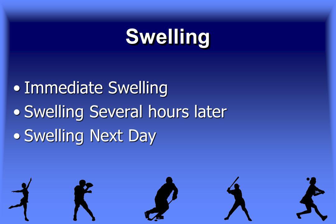 SwellingSwelling Immediate SwellingImmediate Swelling Swelling Several hours laterSwelling Several hours later Swelling Next DaySwelling Next Day