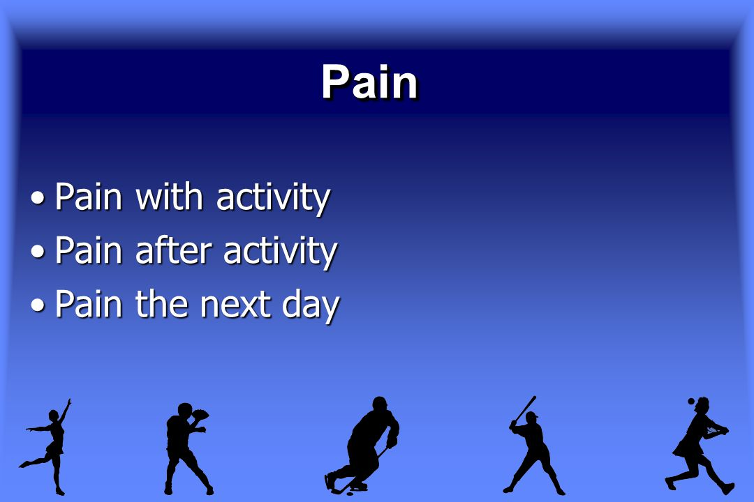 PainPain Pain with activityPain with activity Pain after activityPain after activity Pain the next dayPain the next day