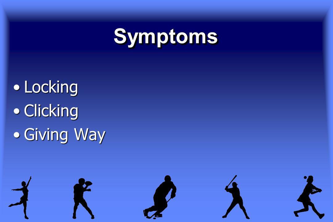SymptomsSymptoms LockingLocking ClickingClicking Giving WayGiving Way