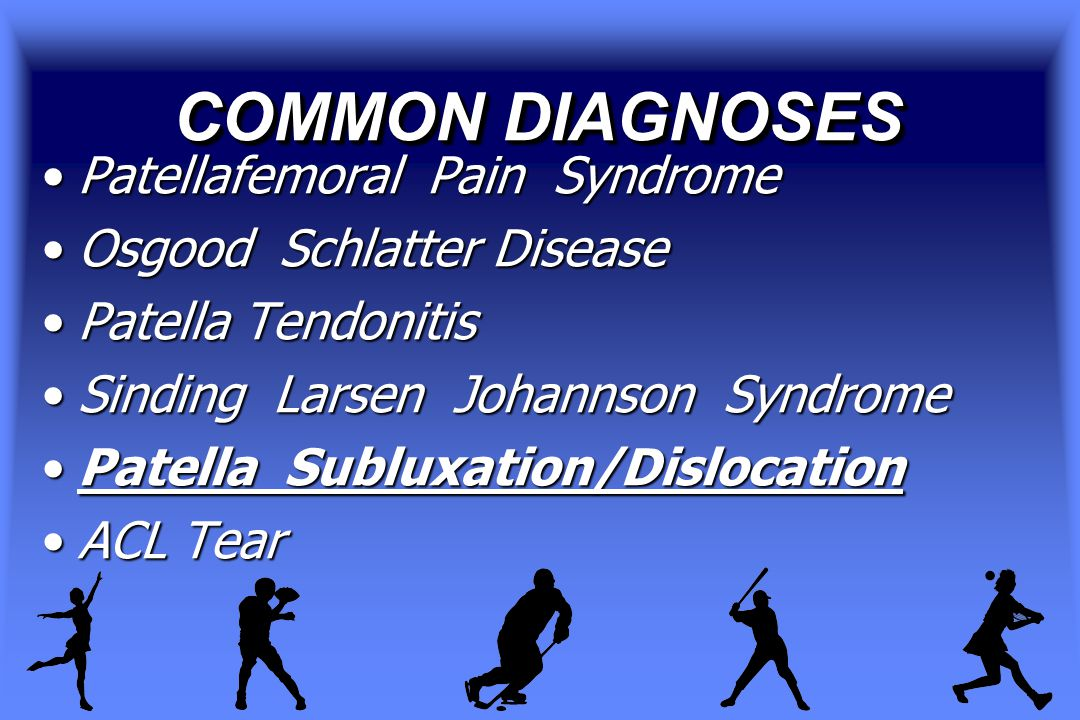 COMMON DIAGNOSES Patellafemoral Pain SyndromePatellafemoral Pain Syndrome Osgood Schlatter DiseaseOsgood Schlatter Disease Patella TendonitisPatella Tendonitis Sinding Larsen Johannson SyndromeSinding Larsen Johannson Syndrome Patella Subluxation/DislocationPatella Subluxation/Dislocation ACL TearACL Tear