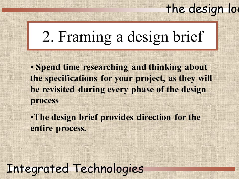 the design loop Integrated Technologies 2.