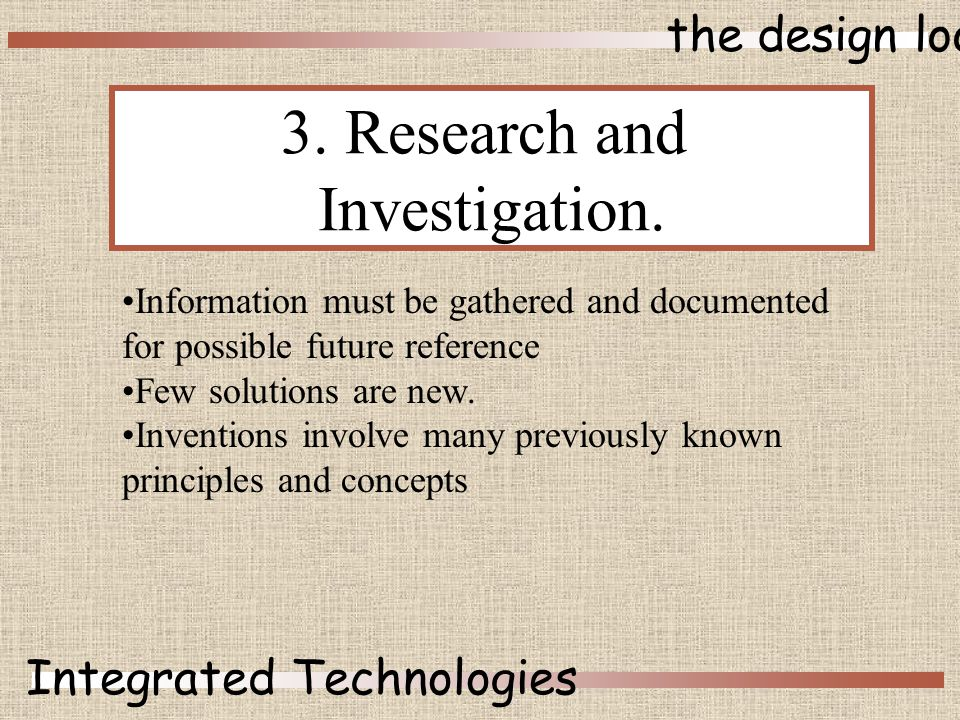 the design loop Integrated Technologies 3. Research and Investigation.