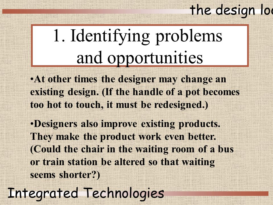 the design loop Integrated Technologies At other times the designer may change an existing design.