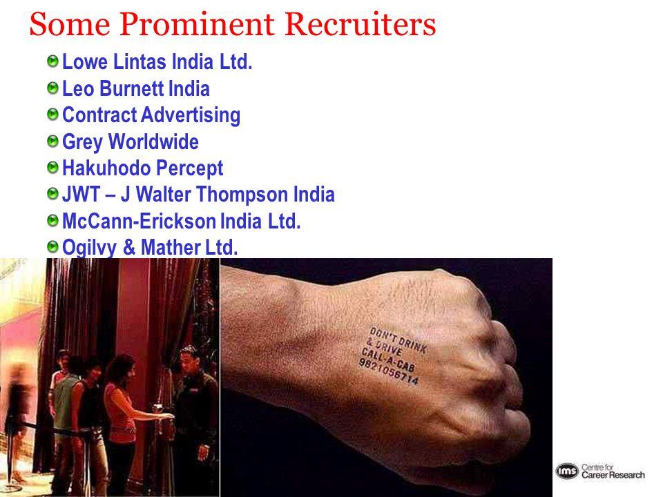 5/10/2015 Lowe Lintas India Ltd. Leo Burnett India Contract Advertising Grey Worldwide Hakuhodo Percept JWT – J Walter Thompson India McCann-Erickson