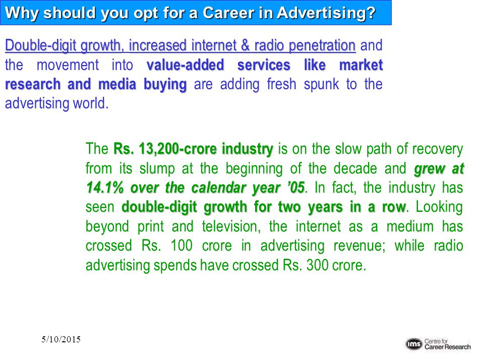 5/10/2015 Why should you opt for a Career in Advertising? Double-digit growthincreased internet & radio penetration value-added services like market r