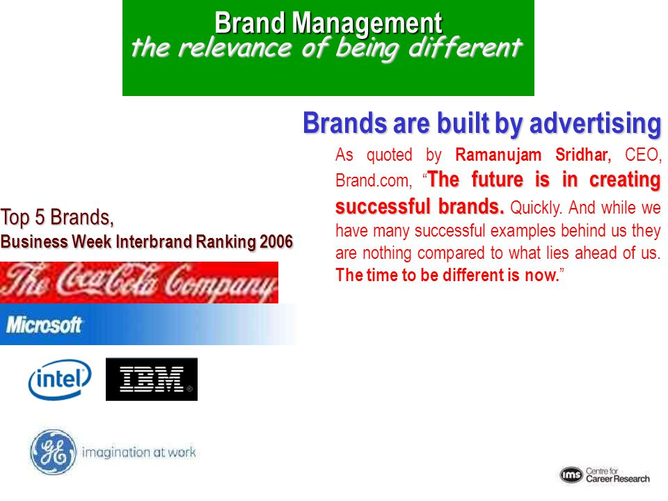 5/10/2015 Brand Management the relevance of being different Top 5 Brands, Business Week Interbrand Ranking 2006 The future is in creating successful b