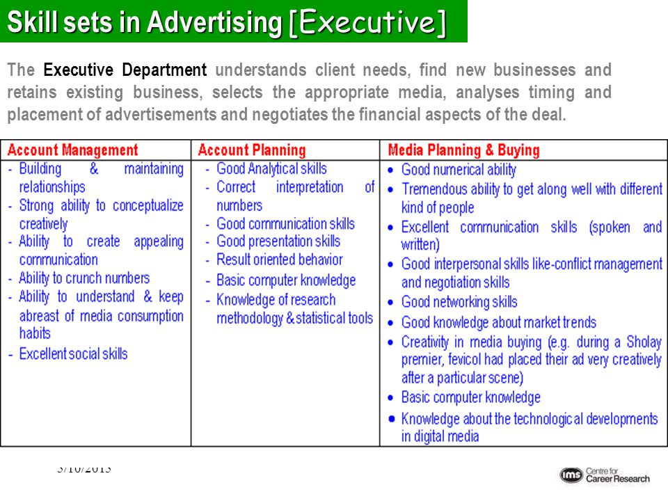 5/10/2015 Skill sets in Advertising [Executive] The Executive Department understands client needs, find new businesses and retains existing business,
