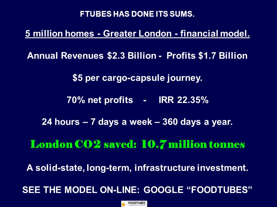 FTUBES HAS DONE ITS SUMS. 5 million homes - Greater London - financial model.