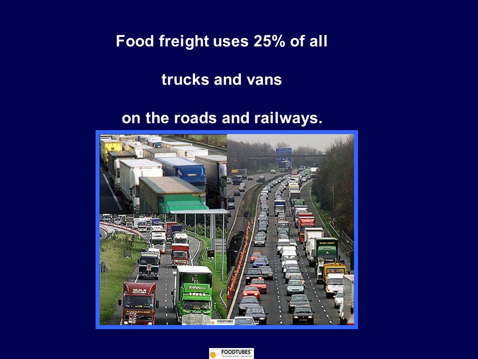 Food freight uses 25% of all trucks and vans on the roads and railways.