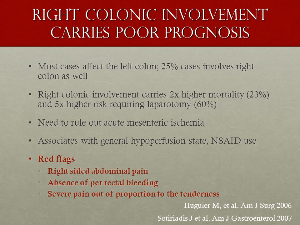 Right colonic involvement carries poor prognosis Most cases affect the left colon; 25% cases involves right colon as wellMost cases affect the left colon; 25% cases involves right colon as well Right colonic involvement carries 2x higher mortality (23%) and 5x higher risk requiring laparotomy (60%)Right colonic involvement carries 2x higher mortality (23%) and 5x higher risk requiring laparotomy (60%) Need to rule out acute mesenteric ischemiaNeed to rule out acute mesenteric ischemia Associates with general hypoperfusion state, NSAID useAssociates with general hypoperfusion state, NSAID use Red flags Red flags Right sided abdominal pain Right sided abdominal pain Absence of per rectal bleeding Absence of per rectal bleeding Severe pain out of proportion to the tenderness Severe pain out of proportion to the tenderness Huguier M, et al.