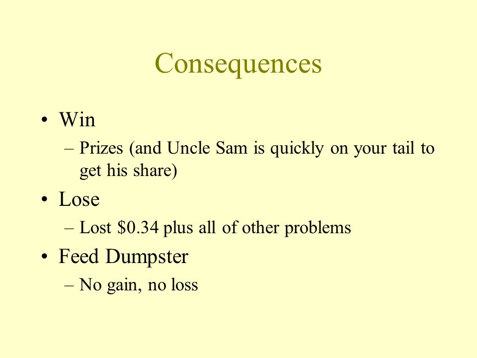 Consequences Win –Prizes (and Uncle Sam is quickly on your tail to get his share) Lose –Lost $0.34 plus all of other problems Feed Dumpster –No gain, no loss