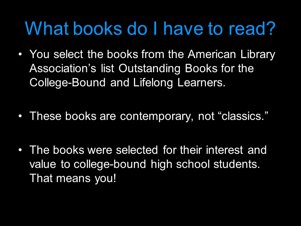What books do I have to read.