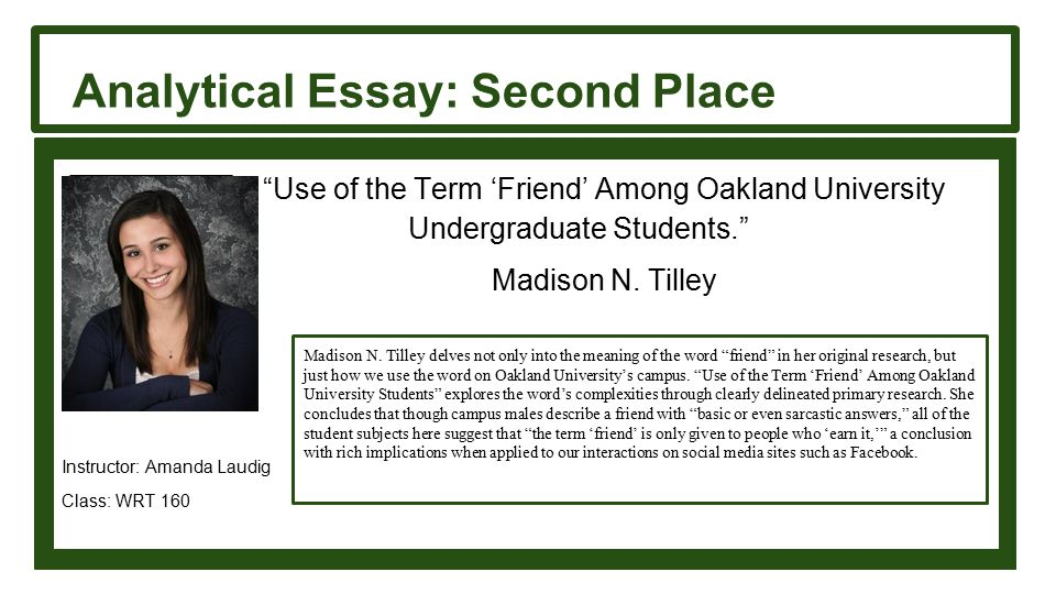 Analytical Essay: Second Place Use of the Term 'Friend' Among Oakland University Undergraduate Students. Madison N.