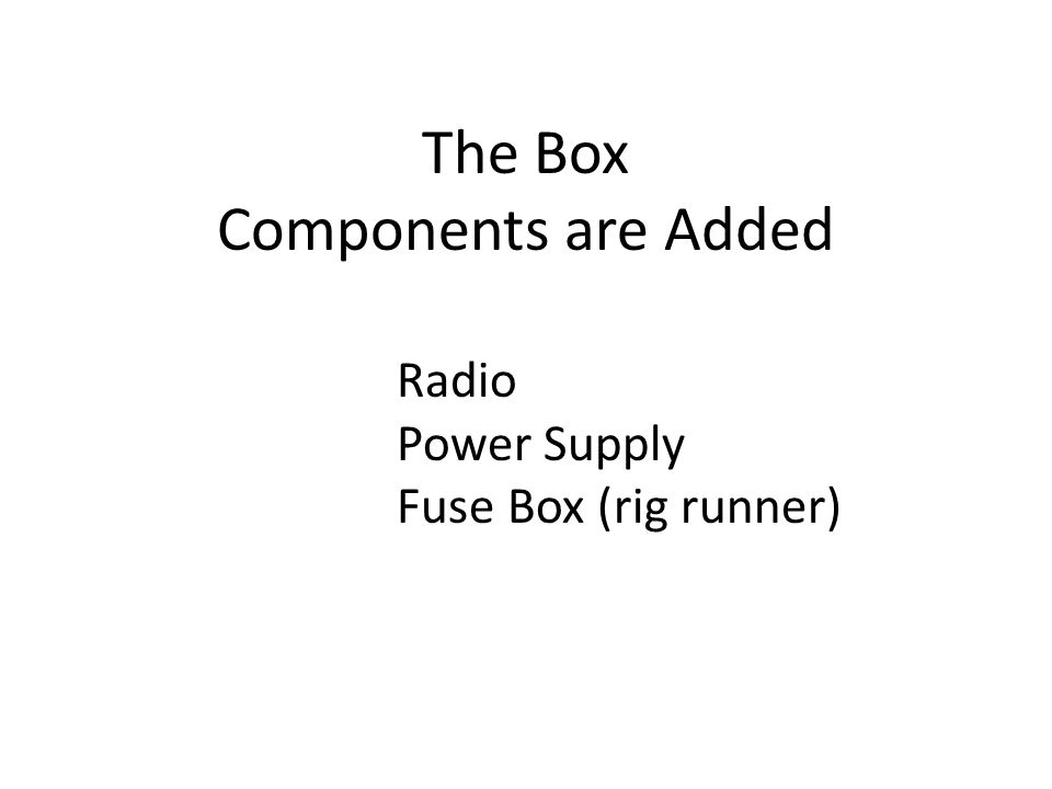 The Box Components are Added Radio Power Supply Fuse Box (rig runner)