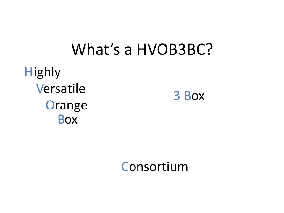 What's a HVOB3BC? Highly Versatile Orange Box Consortium 3 Box