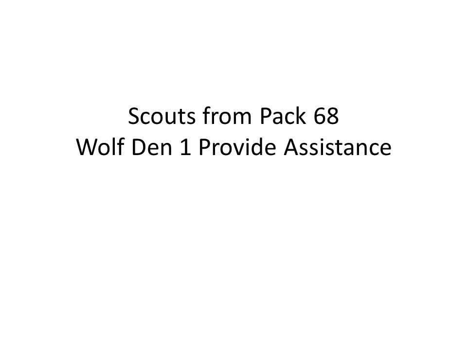 Scouts from Pack 68 Wolf Den 1 Provide Assistance