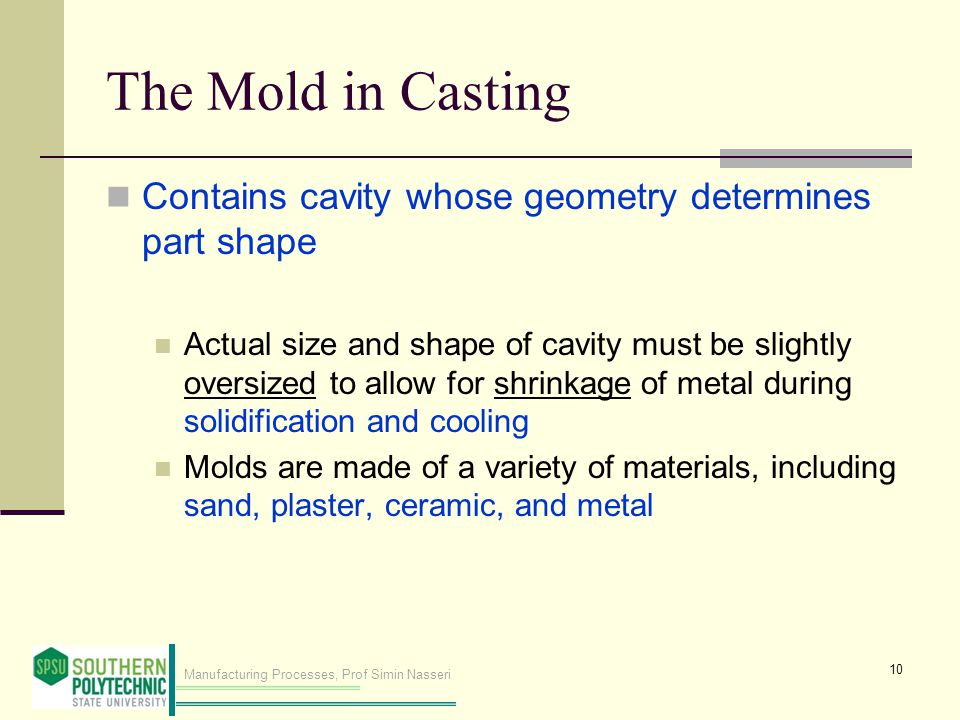 Manufacturing Processes, Prof Simin Nasseri The Mold in Casting Contains cavity whose geometry determines part shape Actual size and shape of cavity must be slightly oversized to allow for shrinkage of metal during solidification and cooling Molds are made of a variety of materials, including sand, plaster, ceramic, and metal 10