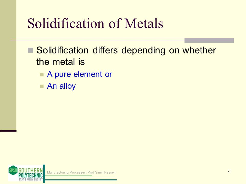 Manufacturing Processes, Prof Simin Nasseri Solidification of Metals Solidification differs depending on whether the metal is A pure element or An alloy 20