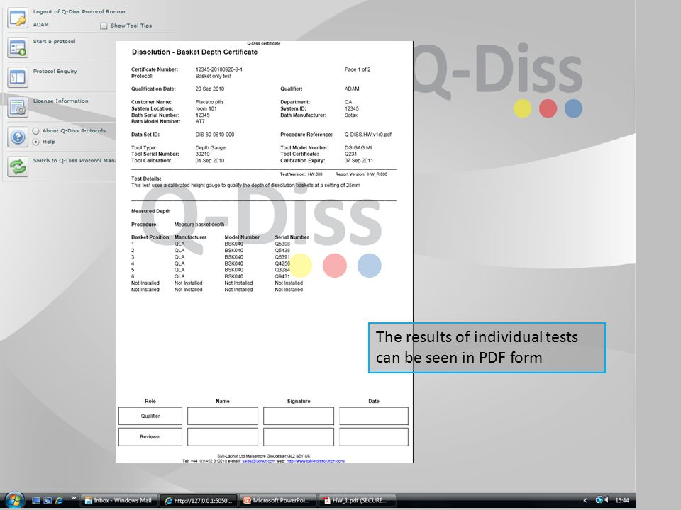 The results of individual tests can be seen in PDF form