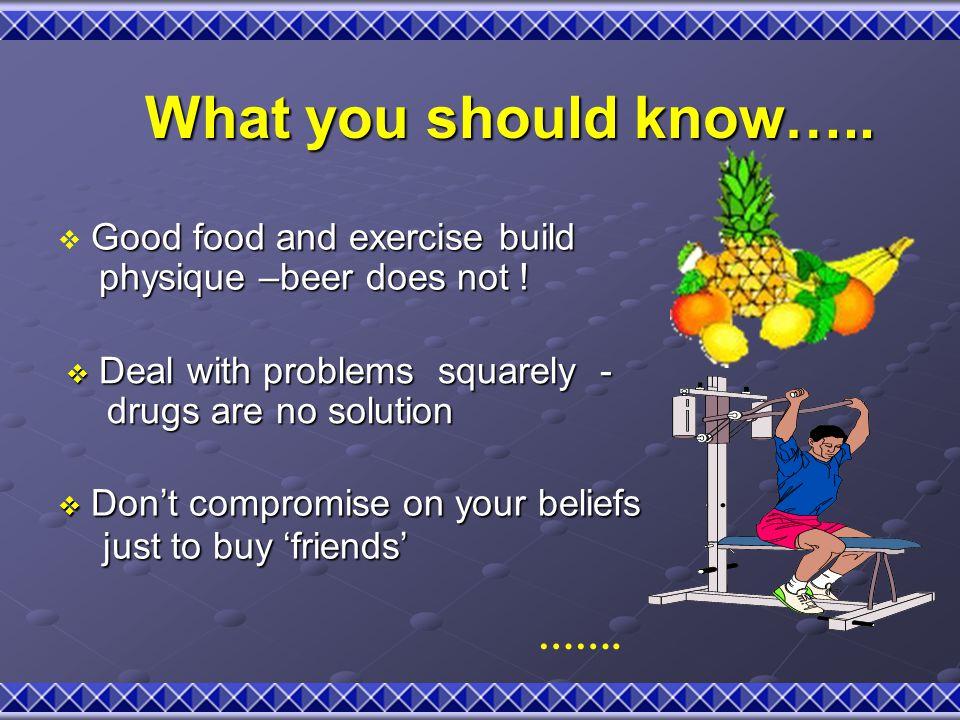 What you should know….. What you should know….. Good food and exercise build  Good food and exercise build physique –beer does not ! physique –beer d