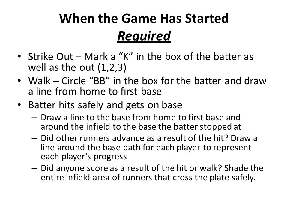 When the Game Has Started Required Strike Out – Mark a K in the box of the batter as well as the out (1,2,3) Walk – Circle BB in the box for the batter and draw a line from home to first base Batter hits safely and gets on base – Draw a line to the base from home to first base and around the infield to the base the batter stopped at – Did other runners advance as a result of the hit.