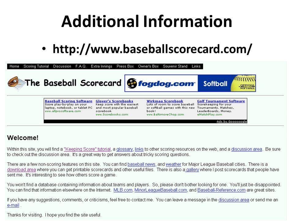 Additional Information http://www.baseballscorecard.com/