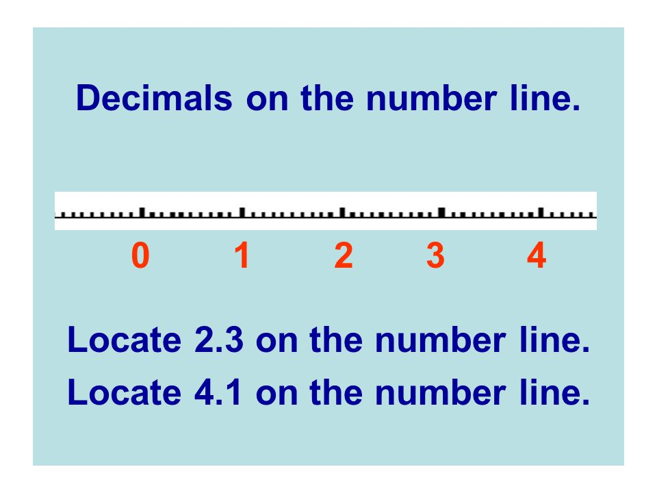 Decimals on the number line.0 1 2 3 4 Locate 2.3 on the number line.