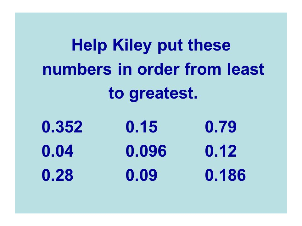 Help Kiley put these numbers in order from least to greatest.