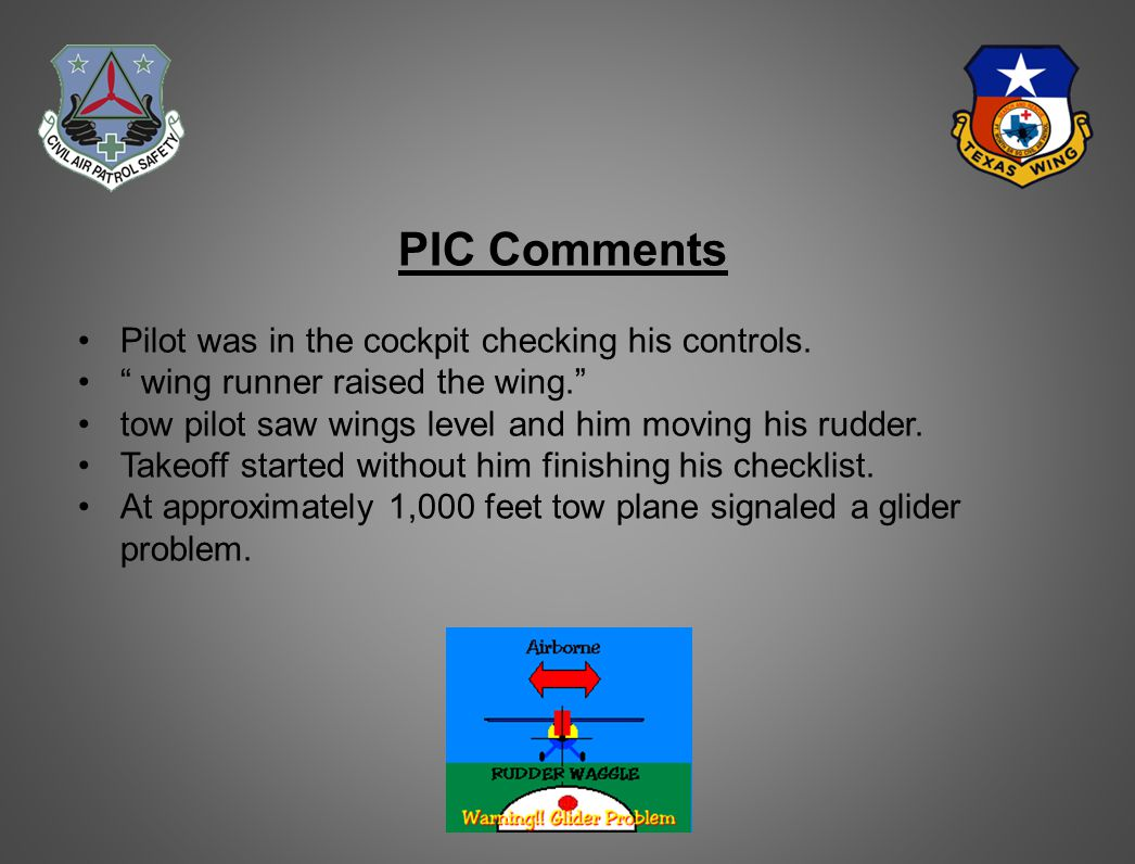 Pilot's Comments (Continued) Mistook tow plane signal and released.