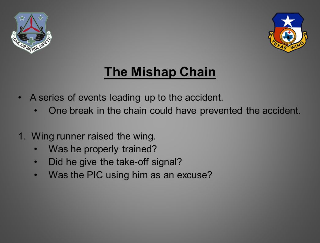 The Mishap Chain A series of events leading up to the accident.