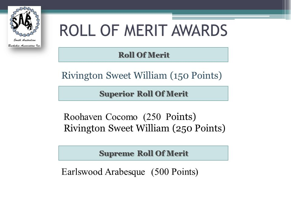 ROLL OF MERIT AWARDS Roll Of Merit Rivington Sweet William (150 Points) Superior Roll Of Merit Roohaven Cocomo (250 P oints) Rivington Sweet William (250 Points) Supreme Roll Of Merit Earlswood Arabesque (500 Points)