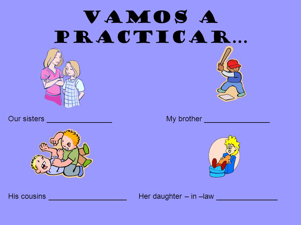Vamos a practicar… Our sisters ________________My brother ________________ His cousins ___________________Her daughter – in –law _______________