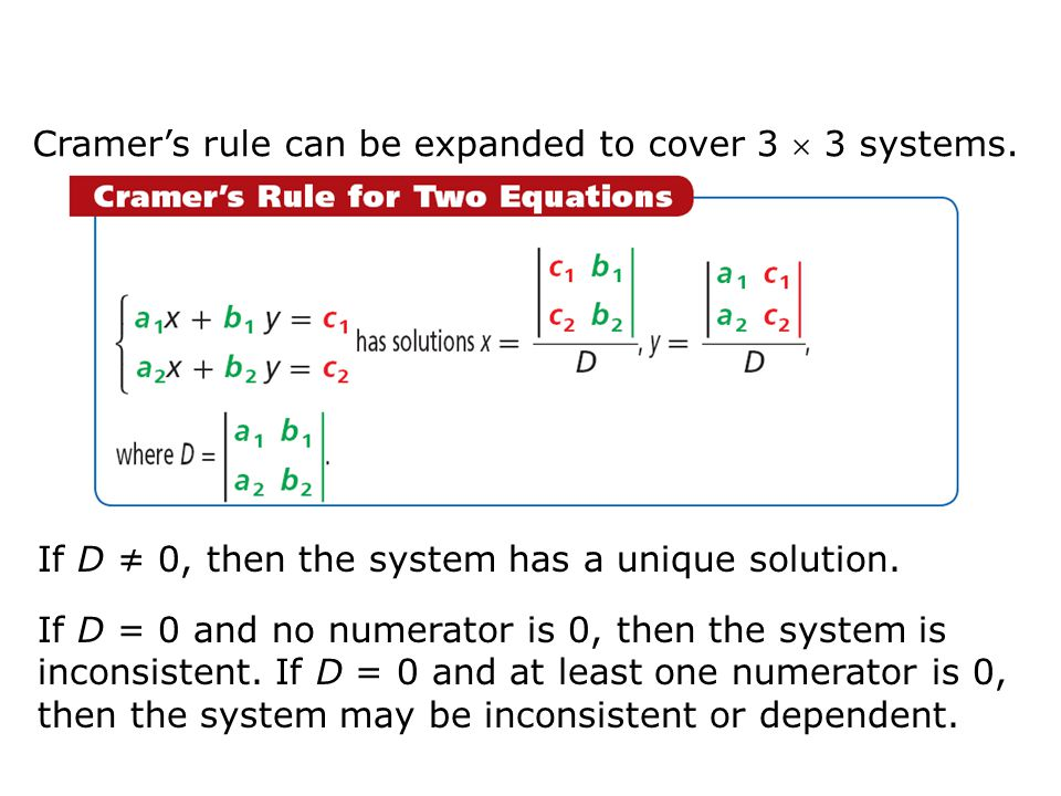 Cramer's rule can be expanded to cover 3  3 systems.