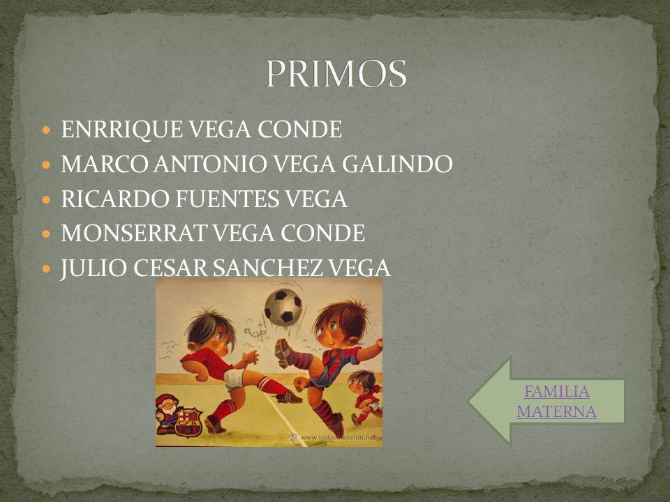 ENRRIQUE VEGA CONDE MARCO ANTONIO VEGA GALINDO RICARDO FUENTES VEGA MONSERRAT VEGA CONDE JULIO CESAR SANCHEZ VEGA FAMILIA MATERNA