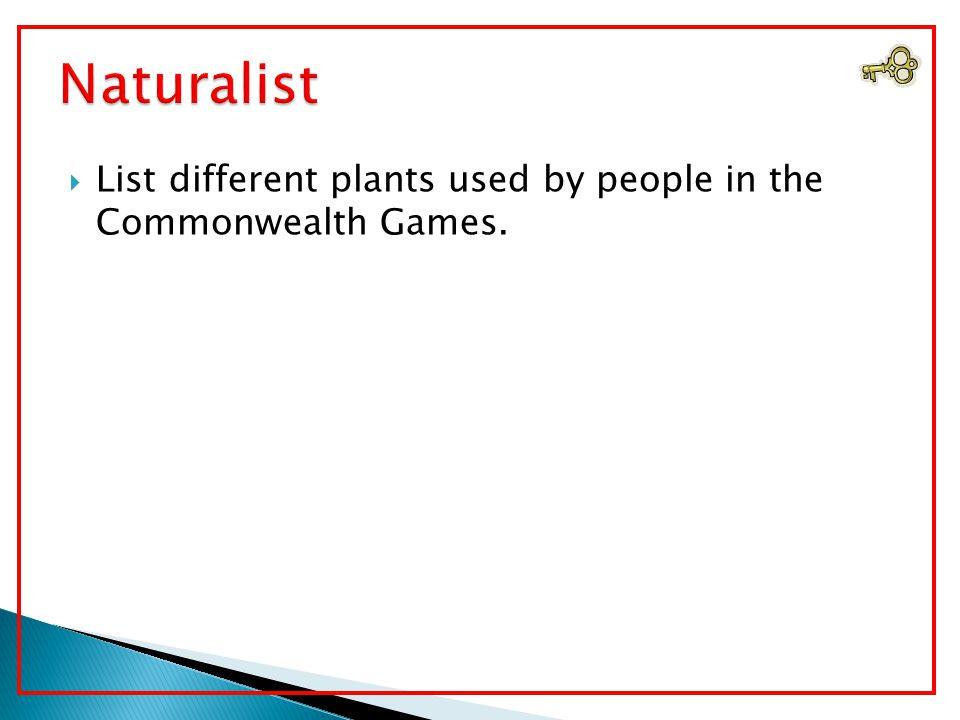  List different plants used by people in the Commonwealth Games.