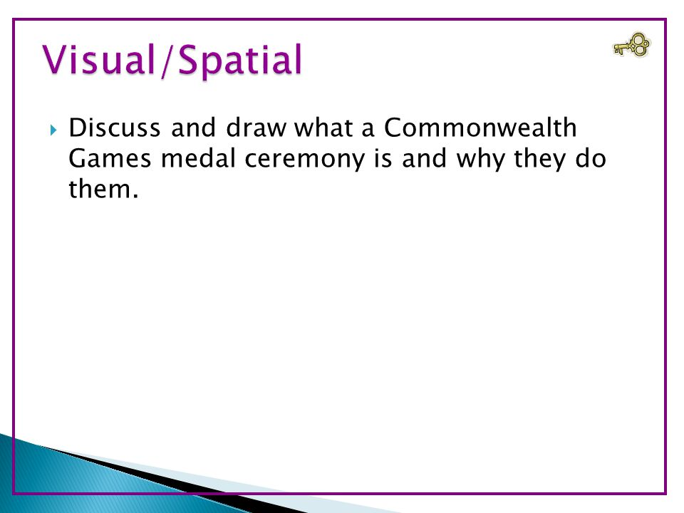  Discuss and draw what a Commonwealth Games medal ceremony is and why they do them.